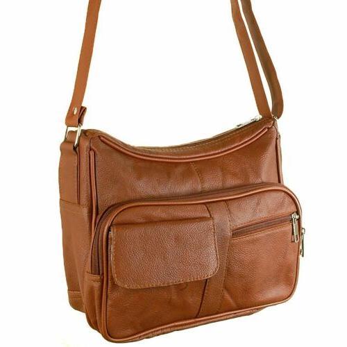 Women's Leather Purse Shoulder Bag Pockets Cross Body