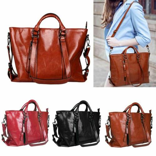 Women's Oiled Leather Lady Briefcase Shoulder Messenger