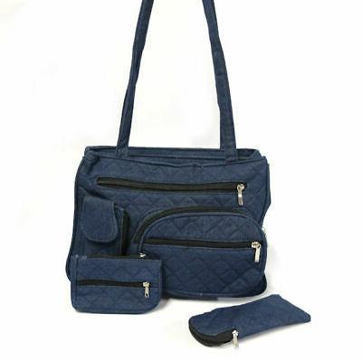 women s quilted denim handbag w eyeglasses