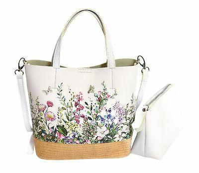 Women's Two Floral Pattern Vegan Leather in Tote
