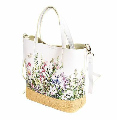 Women's Tone Floral Handbag Leather 2 1 Tote
