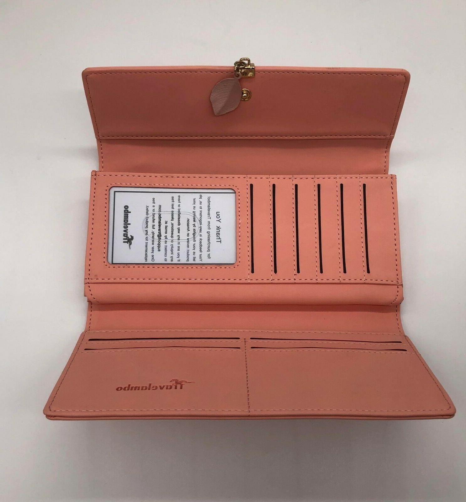 Travelambo Leather RFID Clutch Pink