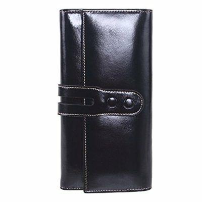 AINIMOER Women's Wax Leather Long Clutch Wallet Large Ladies