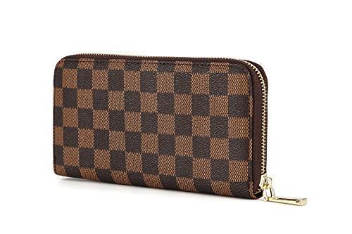 womens checkered zip around wallet and phone