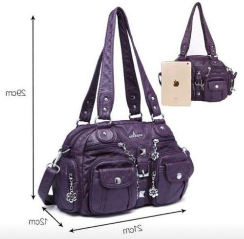 Women's Genuine Large Capacity Black Leather Shoulder Bag Pockets
