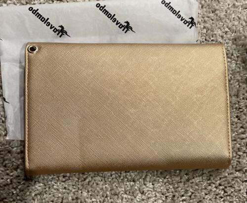 Travelambo Womens Purse w/ Wrist RFID Bifold Travel Gold