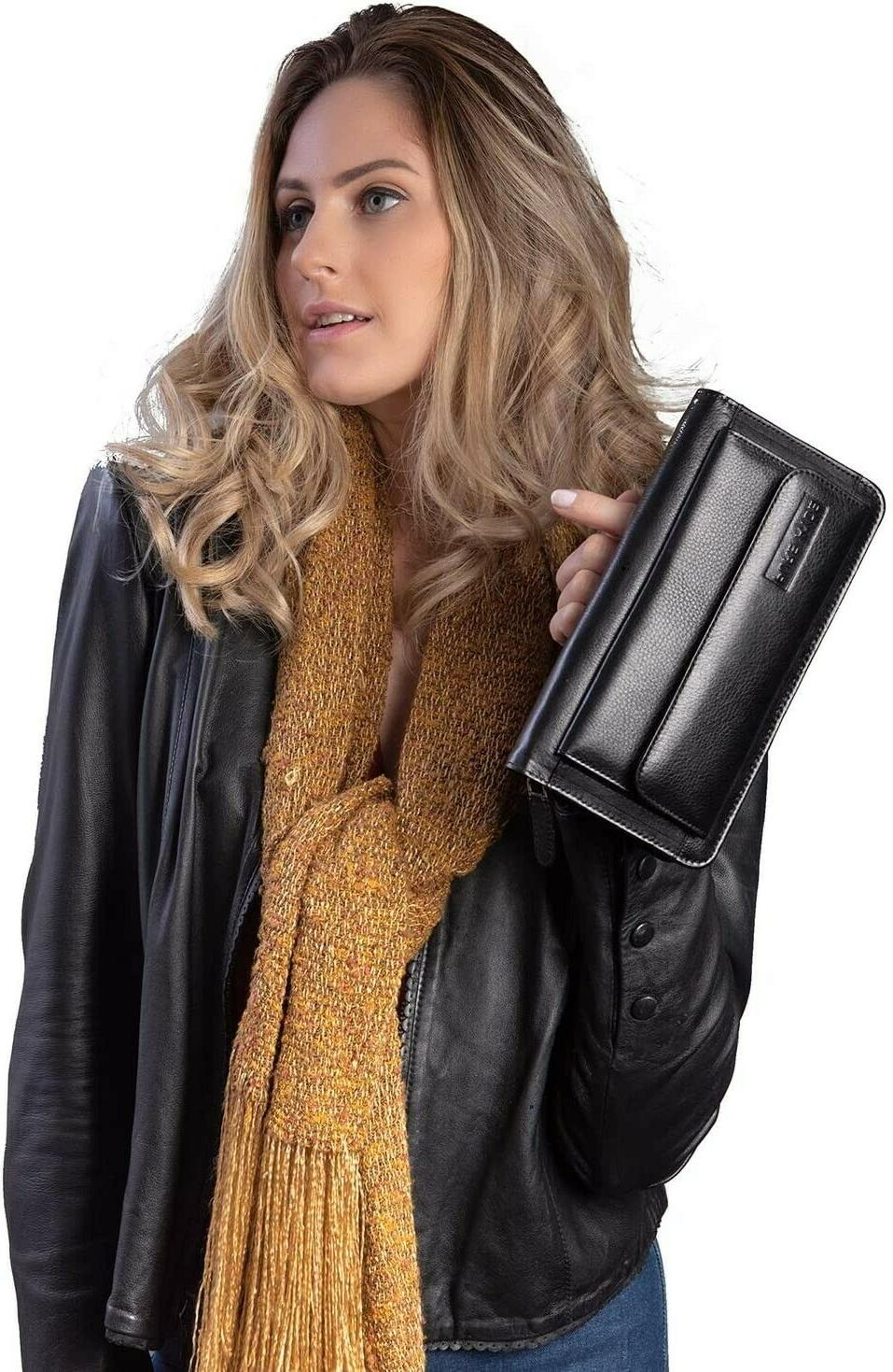 Womens RFID Blocking Real Zip Clutch Large