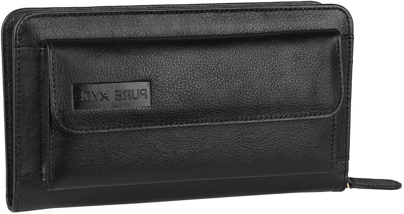 womens rfid blocking wallet real leather zip