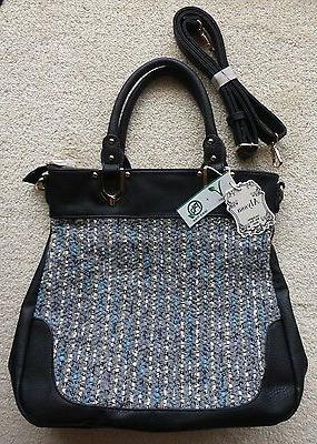 woven fabric and black leather purse handbag