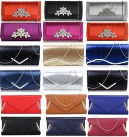 Ladies Fashion Designer Diamante Crystal Clutch Evening Purs