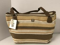 LADIES WOMENS LARGE TAN AND BROWN STRIPED PURSE HANDBAG BY L