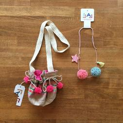 LALI Little Girls Jacquard Purse and Tulle Pom Necklace Acce