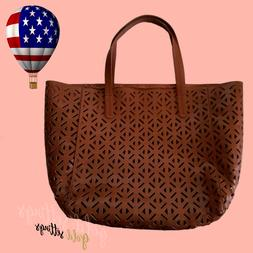 Large Leather Tote Shoulder Bag Brown Purse Shopper Beach Gy