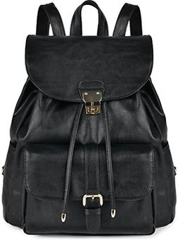 Leather Backpack For Women, COOFIT Black Backpack Purse Wome