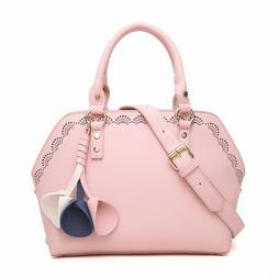Aitbags Leather Dome Satchel Handbag for Women Work Tote Bag