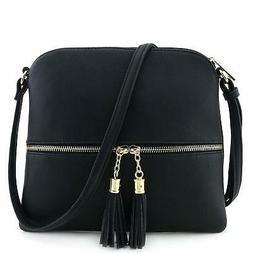 Lightweight Medium Crossbody Bag with Tassel, Faux leather &