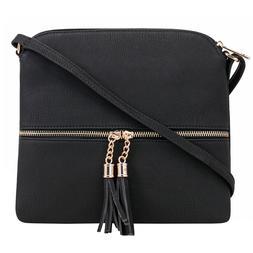 DELUXITY Lightweight Medium Crossbody Bag with Tassel and Zi