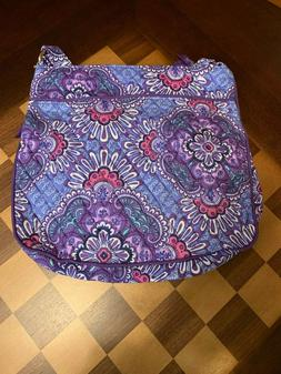 Vera Bradley Lilac Tapestry Triple Zip Hipster Cross Body Pu