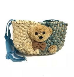 Little Girls' Go Go Straw Teddy Shaped Design Shoulder bags