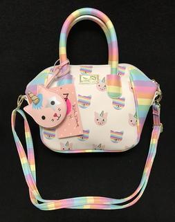 Betsey Johnson Luv LBQUINNY Rainbow Unicorn Cat Mini Satchel