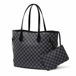 Luxury Checkered Tote Bag Women Leather Shoulder Strap Inner