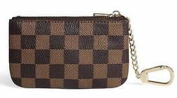 Daisy Rose Luxury Zip Checkered Key Chain pouch-PU Vegan Lea