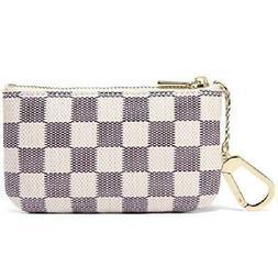 Daisy Rose Luxury Zip Checkered Key Chain pouch PU Vegan Lea