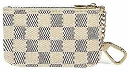 luxury zip checkered key chain pouch pu