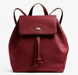 MICHAEL Kors Maroon Junie Medium Flap Leather Backpack Purse