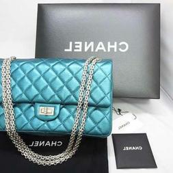 CHANEL Matelasse Chain Shoulder Bag Pouch Purse Metallic Blu