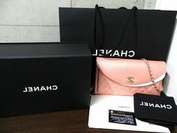 Chanel Matelasse Pink Chain Shoulder Bag Purse Crossbody Wom