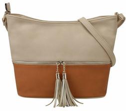 DELUXITY Medium Hobo Crossbody Bag with Tassel/Zipper Accent
