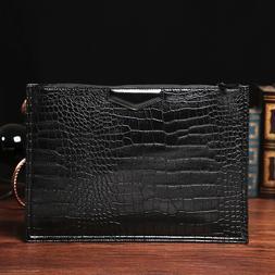Men Alligator PU Leather Messenger Bags Large Envelope Shoul