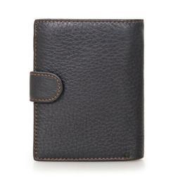 Men Genuine Leather Wallet Retro Cowhide Hasp Trifold Purse