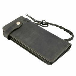 Men Long Chain Genuine Leather Wallet Cowhide Vintage Woven