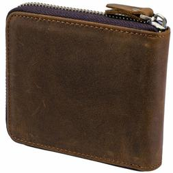 Men  RFID locking  Leather Zipper Wallet Cowhide Trifold Coi