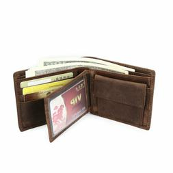Men's Leather  Bifold Wallet Vintage Coin Purse Short Card H