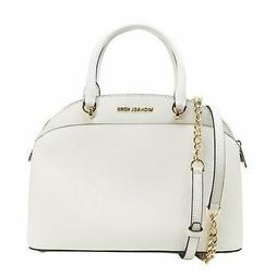 Michael Michael Kors EMMY White Saffiano Leather Large Dome