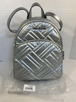 MICHAEL KORS ABBEY MEDIUM BACKPACK QUILTED FABRIC SILVER 35H