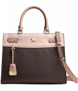michael reagan large satchel signature brown soft