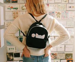 Mini Black Peek-a-Boo Cat Backpack Purse in Faux Leather