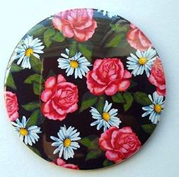 """Mirror for Pocket or Purse: 3.5"""", Pink Roses and Daisies, Fr"""
