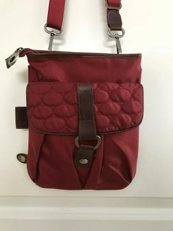 Mosey by Baggallini Maroon Nylon Leather Crossbody Bag Purse