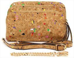Muti-Color Cork cross body Handbag / Purse 5 compartments, l