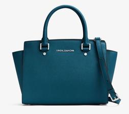 NEW $298 Michael Kors Selma Medium Saffiano Leather Teal Sat