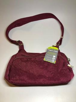 TRAVELON New $90 Anti Theft Red/Pink Crossbody Shoulder Bag