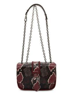 """NEW Longchamp """"Amazone"""" Maroon Python-Embossed Mini Leather"""