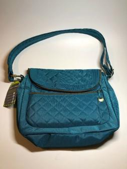 TRAVELON New Anti Theft Blue Quilted Flap Crossbody Shoulder