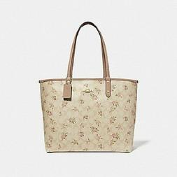 New Authentic Coach F31776 Reversible City Tote With Daisy R