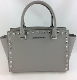 New Authentic Michael Kors Selma Stud Medium Top Zip Satchel